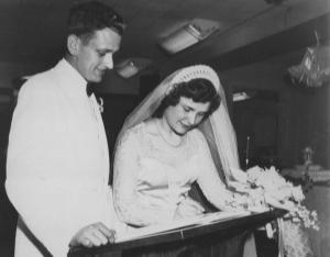 Harley and Betty Smith sign the marriage register at Park Street Church, 06.28.1952, courtesy of Sandy Moyer