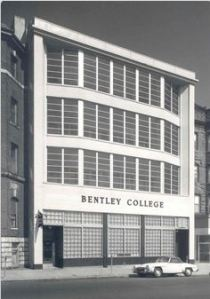 Bentley College, 921 Boylston Street, its location since 1919, photo after building facelift in 1962, courtesy of Bentley Library