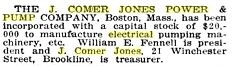 J. Comer Jones Power and Pump Co. Notice of Incorporation, Electrical World, vol. 77, No. 22, 1921 enlarged