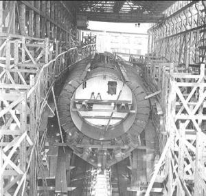 USS Squalus under construction at the Portsmouth Naval Shipyard in 1938, courtesy of wreckhunter dot net