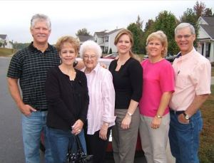 Bruce, Gail, Lee, Virginia, Kathy, Eric gathering for Lee's 80th in 2007, courtesy of Virginia Gorman
