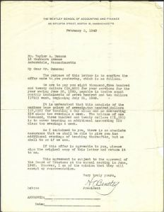 Taylor Duncan Bentley job offer, 02.03.1949