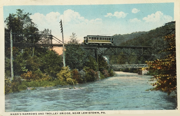 Mann's Narrows and Trolley Bridge, Near Lewistown, PA.