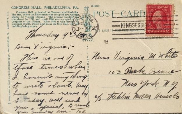 Verso of Congress Hall, Philadelphia, PA.