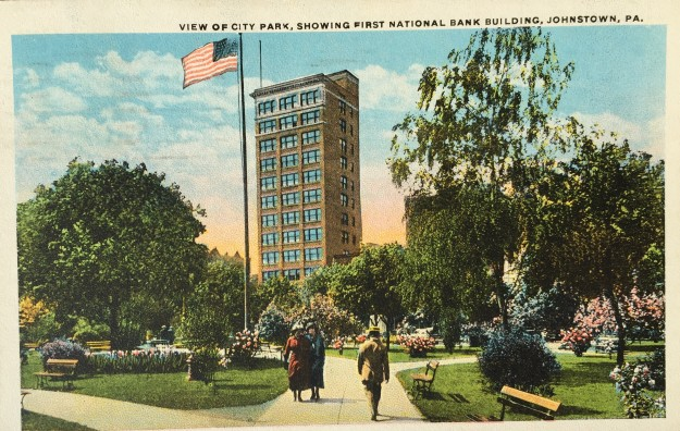 View of City Park, Showing First National Bank Building, Johnstown, PA.