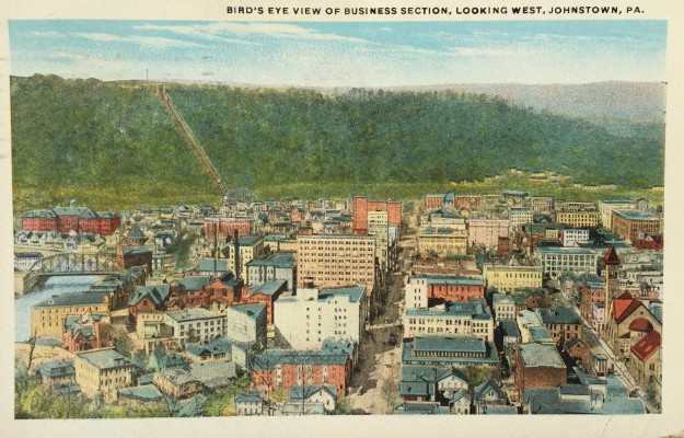 Bird's Eye View of Business Section, Looking West, Johnstown, PA.