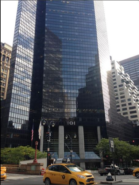 101 Park Ave, 10.20.2015, courtesy of Heidi Duncan. In 1922 and 1923 when Virginia receives these postcards, she's working at 103 Park Ave, which is now inside 101 Park